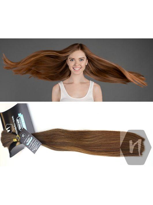 Középbarna magxar európai póthaj hajhosszabbításhoz, natúr festetlen copf