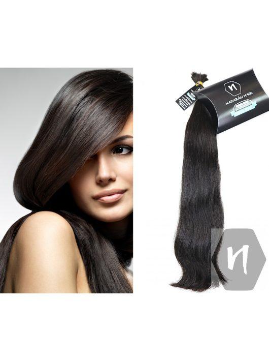 Vágott emberi feldolgozatlan haj, sötétbarna póthaj 58 cm 102 gramm
