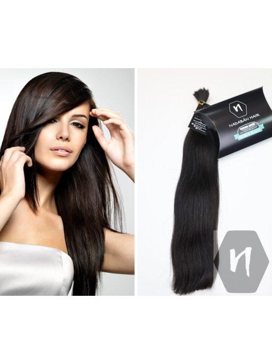 Vágott emberi feldolgozatlan haj, sötétbarna póthaj 50 cm 94 gramm
