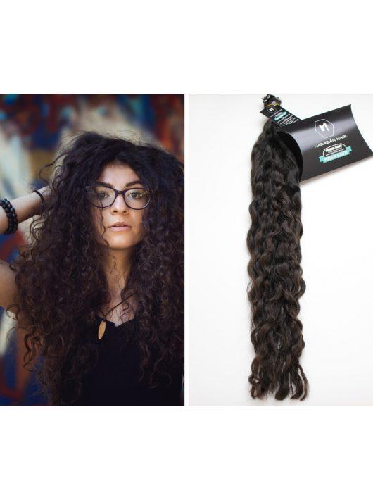 eredeti göndör európai magyar póthaj sötétbarna curly hair extensions