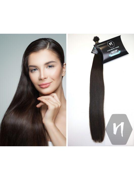 Vágott emberi feldolgozatlan haj, középbarna póthaj 60-65 cm 96 gramm