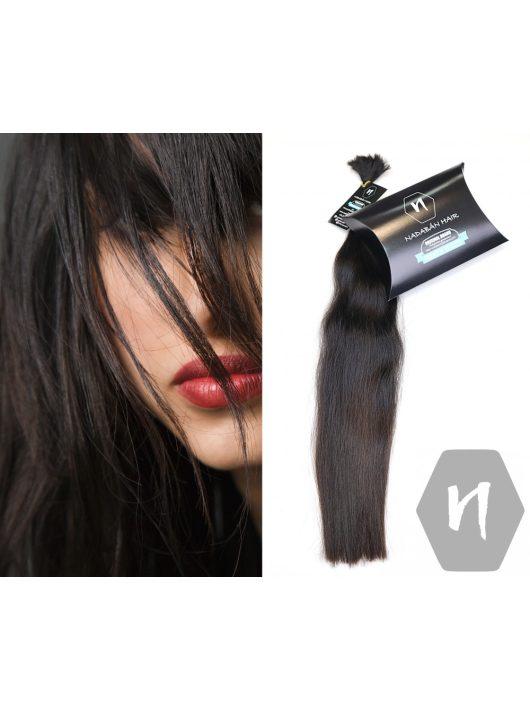 Vágott emberi feldolgozatlan haj, sötétbarna póthaj 50-58 cm 54 gramm