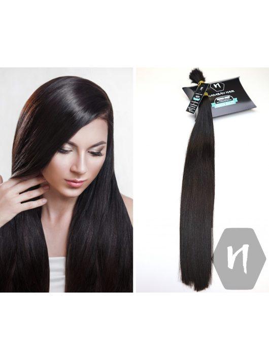 Vágott emberi feldolgozatlan haj, középbarna póthaj 58 cm 98 gramm