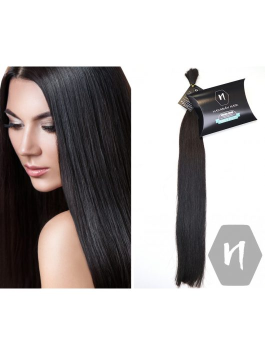 Vágott emberi feldolgozatlan haj, sötétbarna póthaj 60-65 cm 86 gramm