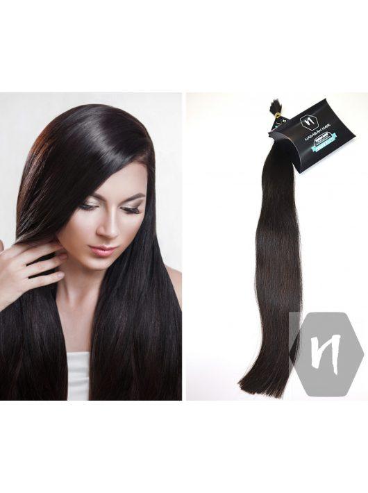 Vágott emberi feldolgozatlan haj, sötétbarna póthaj 60-70 cm 122 gramm