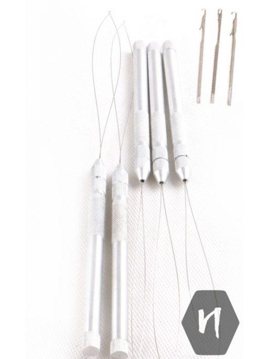 Behúzó tű és hurok (fém) ezüst színben cserélhető fejekkel