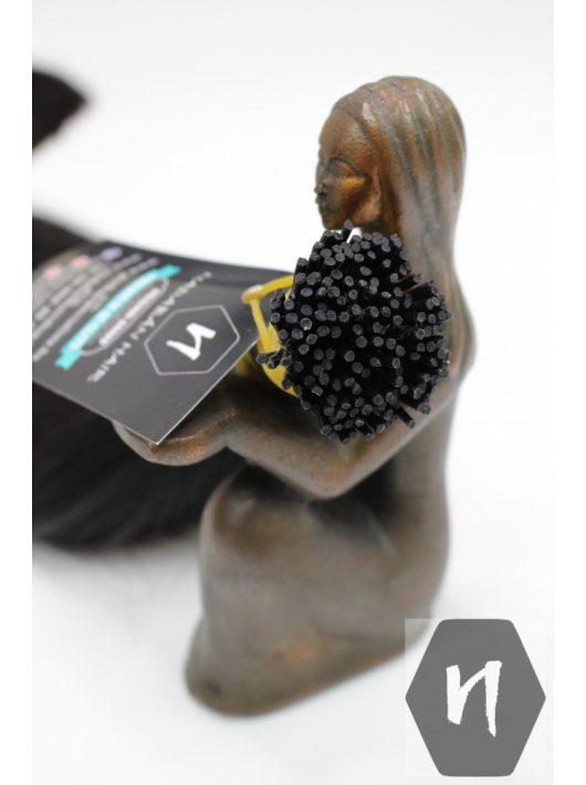 Vágott emberi feldolgozott haj, sötétbarna póthaj 40 cm (mikrogyűrűzéshez és mikrohüvelyhez - I alakú tincs) (10 gramm)