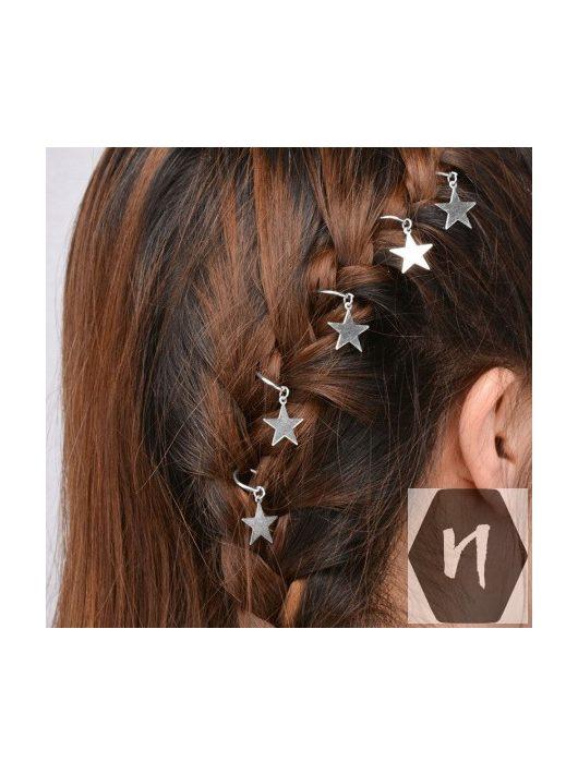Hajdísz-hajékszer csillag forma ezüst színben