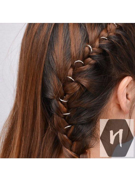 Hajdísz-hajékszer karika forma ezüst színben 10mm átmérőben