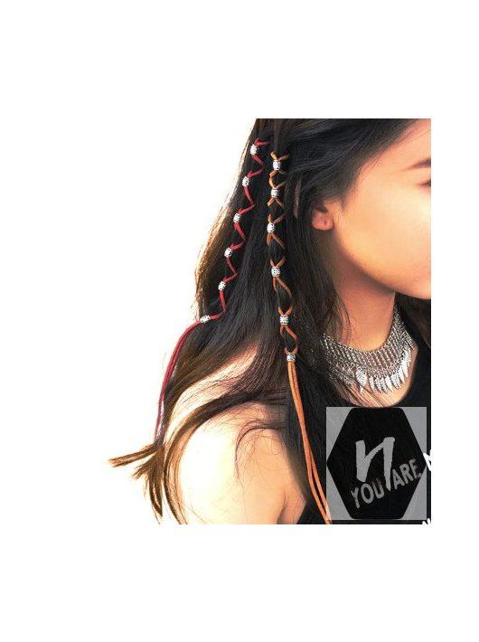 Színes bőrhatású zsinór hajfonat díszítéséhez és hajdísz rögrítéséhez 12 féle színben