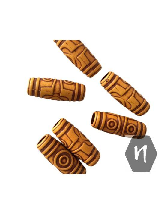 Hajdísz-hajékszer fa hatású mintás henger forma 1db (nagy 6mm átmérő)