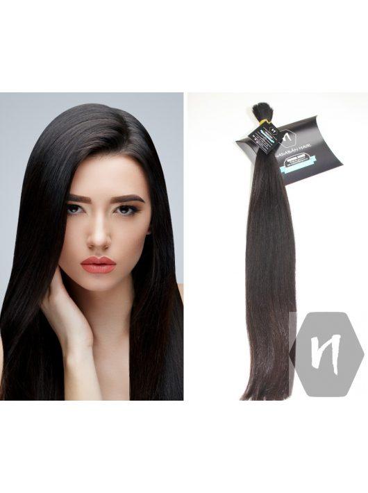 Vágott emberi haj (feldolgozatlan) sötétbarna póthaj 57 cm 146 gramm