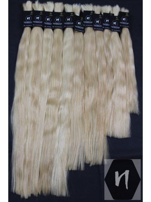 Vágott emberi feldolgozott haj, színtelenített szőke póthaj 50cm (10 gramm)