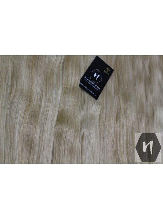 Vágott emberi feldolgozott haj, színtelenített szőke póthaj 50 cm (hőillesztéshez - U alakú tincs)  (10 gramm)