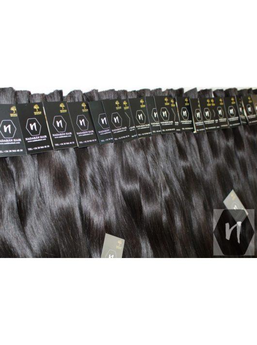 Vágott emberi feldolgozatlan natúr haj, sötétbarna póthaj 60 cm (10 gramm)