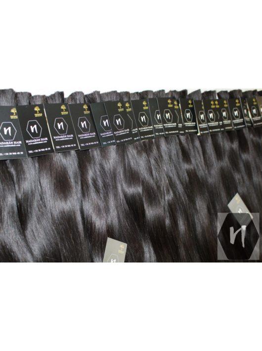 Vágott emberi feldolgozatlan natúr haj, sötétbarna póthaj 90 cm (10 gramm)