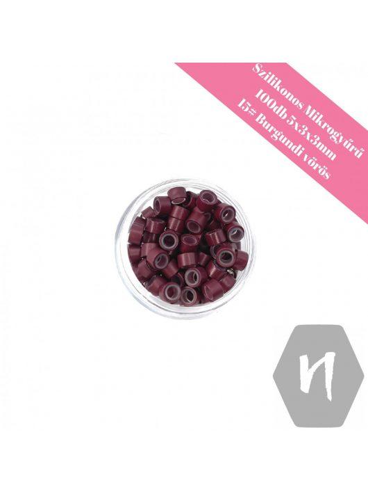 Szilikonos mikrogyűrű 15# burgundi vörös (100 db)