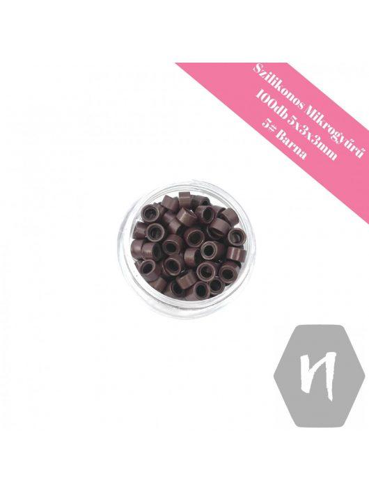 Szilikonos mikrogyűrű 5# barna (100 db)