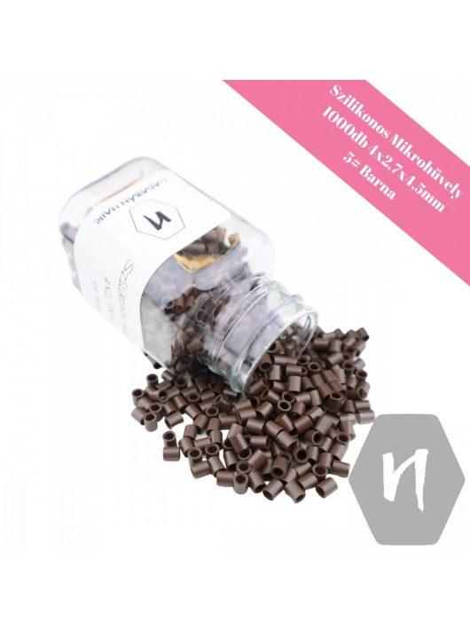 Szilikonos mikrohüvely perem nélkül 5# barna (1000 db)