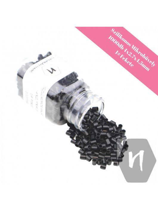 Szilikonos mikrohüvely perem nélkül 1# fekete (1000 db)