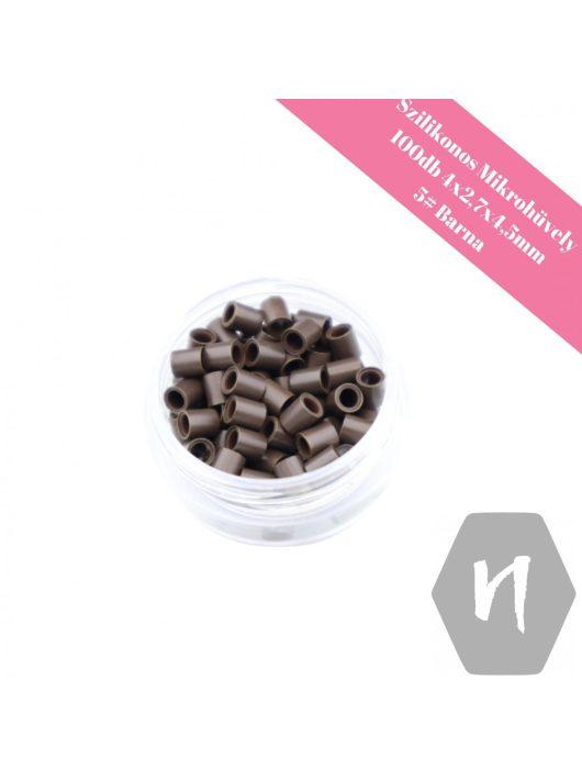 Szilikonos mikrohüvely perem nélküli 5# barna (100 db)