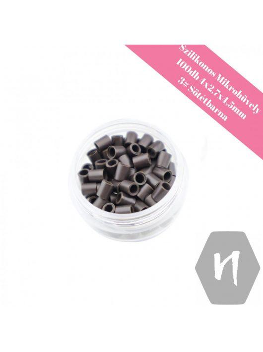 Szilikonos mikrohüvely perem nélküli 3# sötétbarna (100 db)