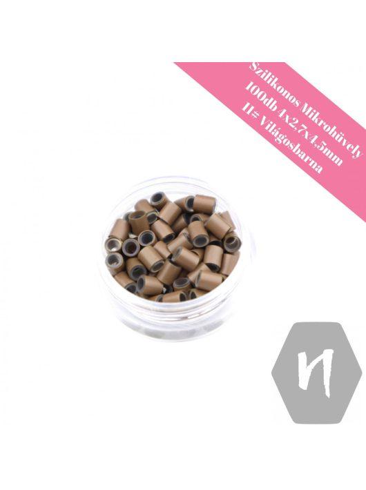 Szilikonos mikrohüvely perem nélküli 11# világosbarna (100 db)