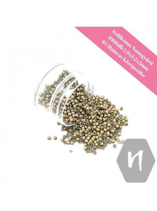 Szilikonos nano gyűrű 6# hamvasszőke (1000 db)